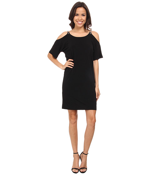 MICHAEL Michael Kors - Matte Jersey Cold Shoulder Dress (Black) Women