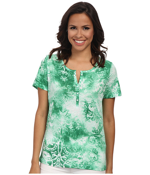 Jones New York - Paisley Print Henley (Jade Green Multi) Women