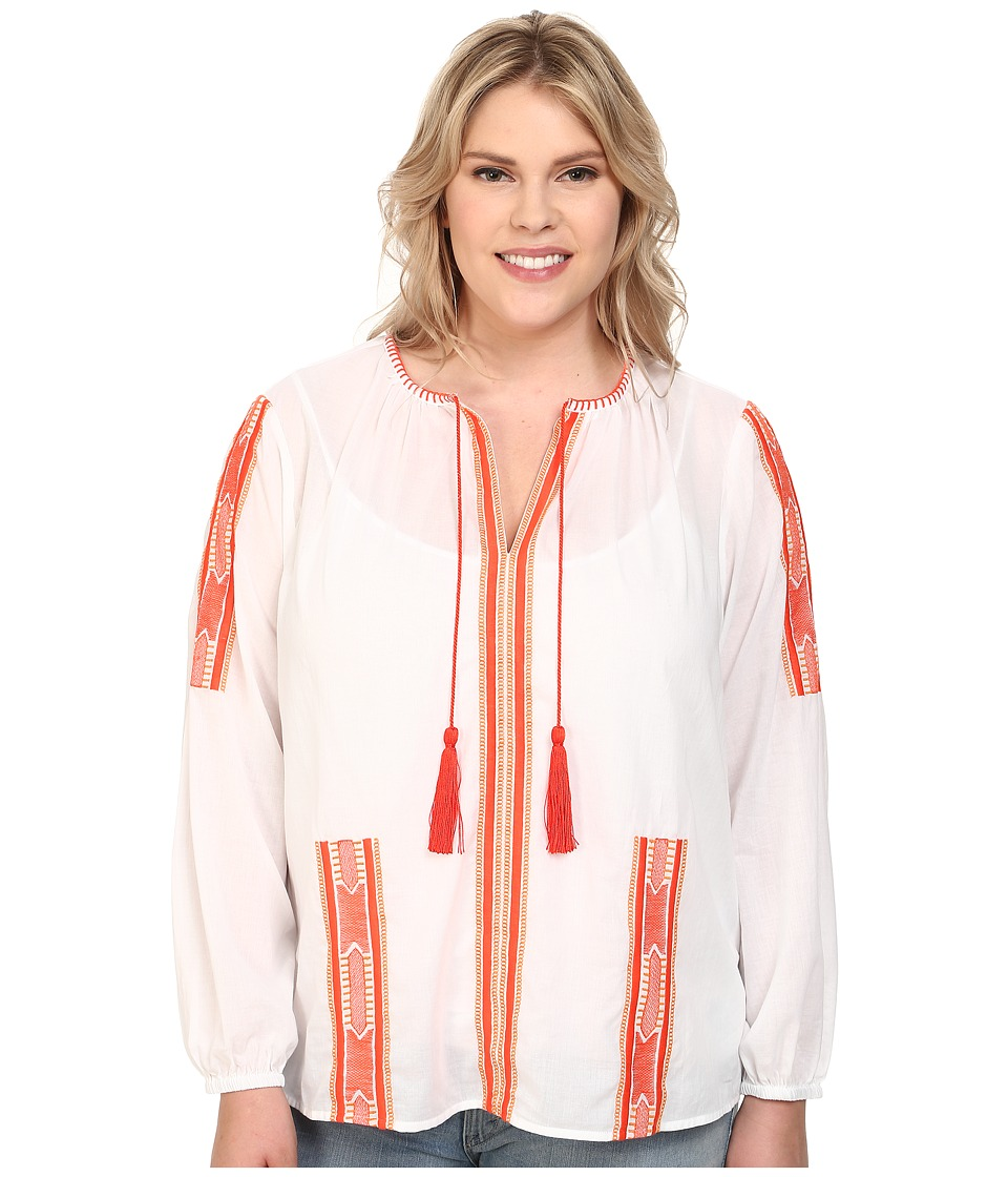 MICHAEL Michael Kors - Plus Size Embroidery Tassel Top (White/Dark Clementine) Women