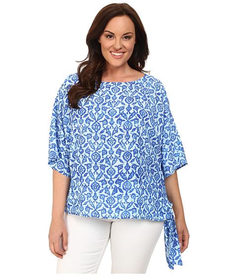 MICHAEL Michael Kors - Plus Size Floral Tile Tie Top (Royal) Women's Clothing
