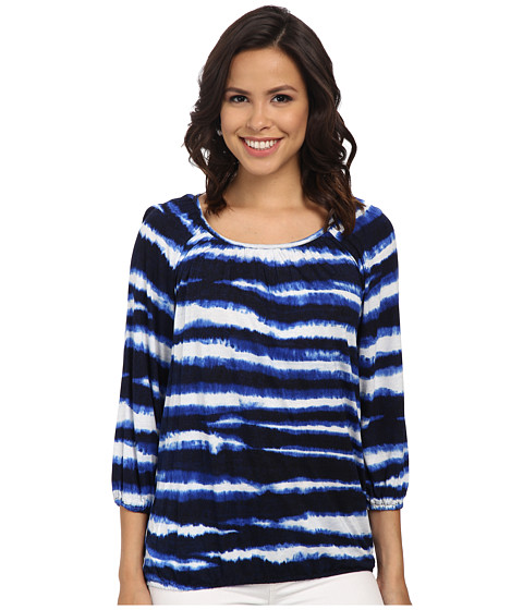 MICHAEL Michael Kors - Azure Stripe Long Sleeve Peasant Top (Prussian Blue) Women's Long Sleeve Pullover