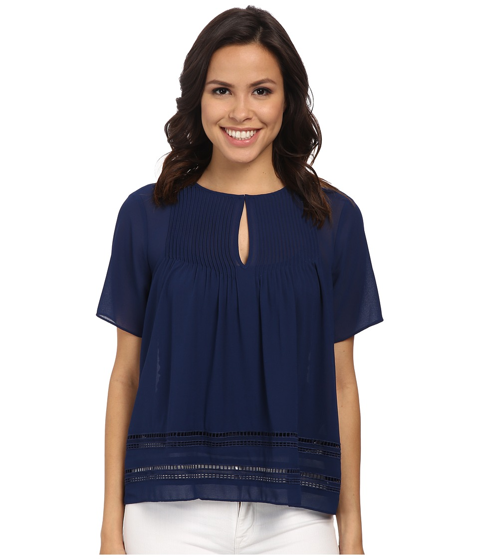 MICHAEL Michael Kors - Lace Insert Top (Prussian Blue) Women's Blouse