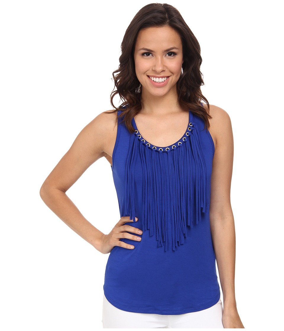 MICHAEL Michael Kors - Grommet Fringe Tank Top (Royal) Women's Sleeveless