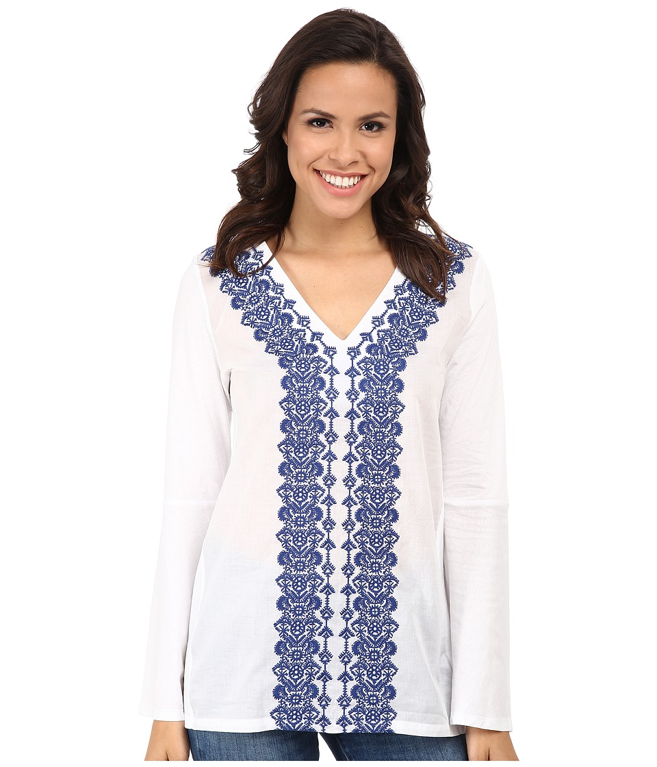 MICHAEL Michael Kors - Woven Front Embroidered Tunic (White/Royal) Women's Blouse
