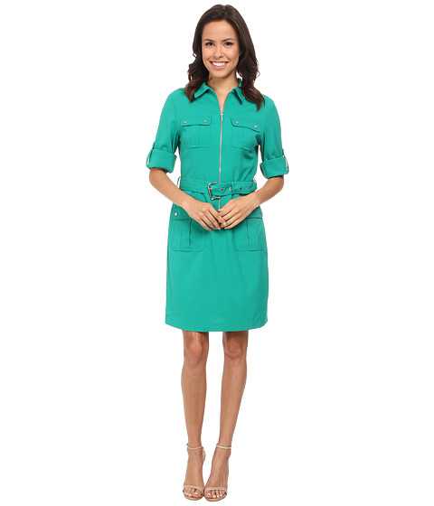 MICHAEL Michael Kors - Roll Sleeve Belted Shirt Woven Dress (Pepper Green) Women