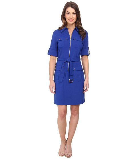 MICHAEL Michael Kors - Roll Sleeve Belted Shirt Woven Dress (Royal) Women