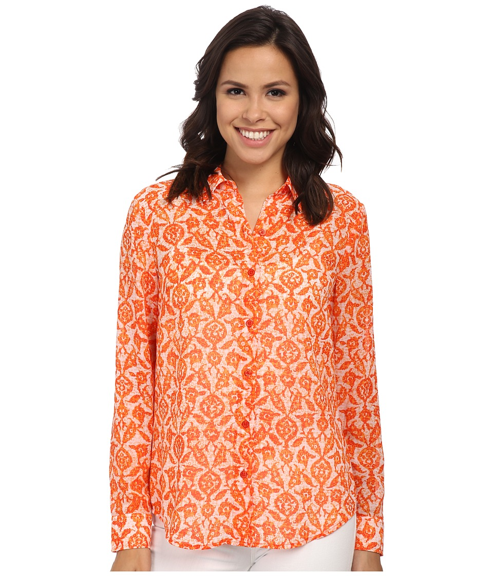 MICHAEL Michael Kors - Flutter Tile Long Sleeve Fit Shirt (Clementine) Women's Long Sleeve Button Up