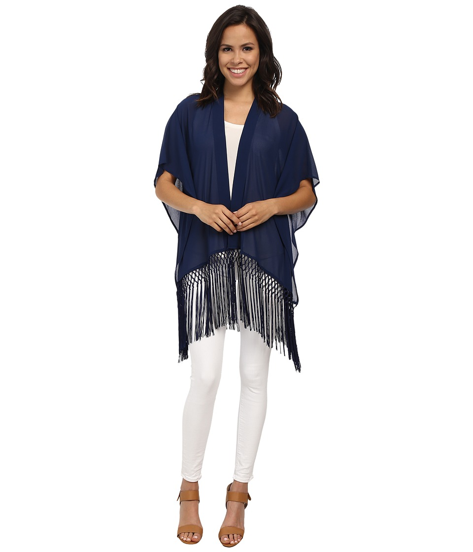 MICHAEL Michael Kors - Fringe Cover-Up (Prussian Blue) Women's Blouse