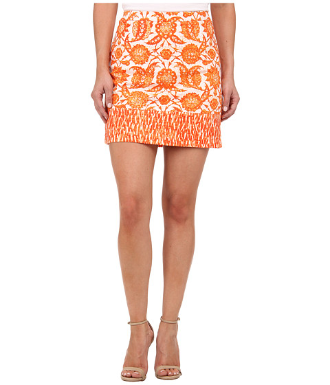 MICHAEL Michael Kors - Petite Print Blocked Mini (Clementine) Women's Skirt