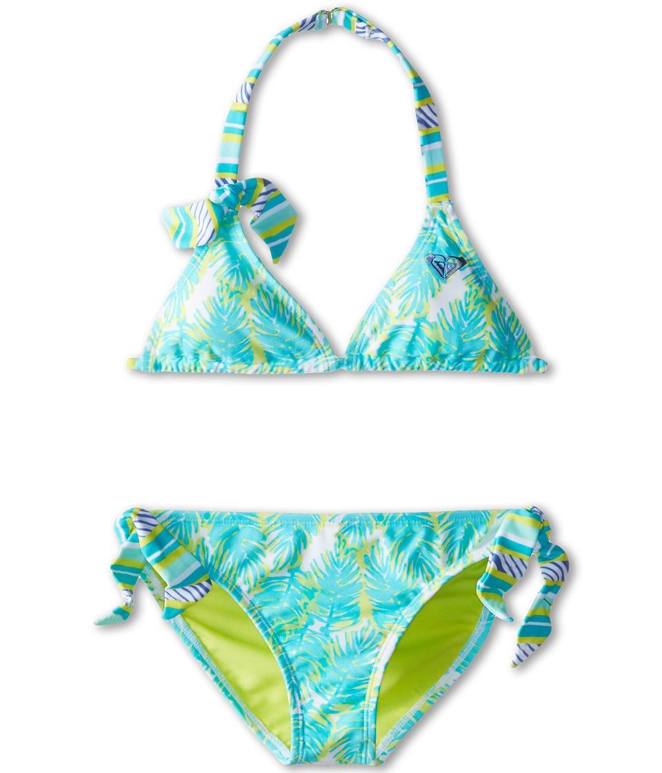 Roxy Kids - Palm Print Tiki Triangle Set (Big Kids) (Turquoise) Girl's Swimwear Sets