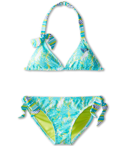 Roxy Kids - Palm Print Tiki Triangle Set (Big Kids) (Turquoise) Girl