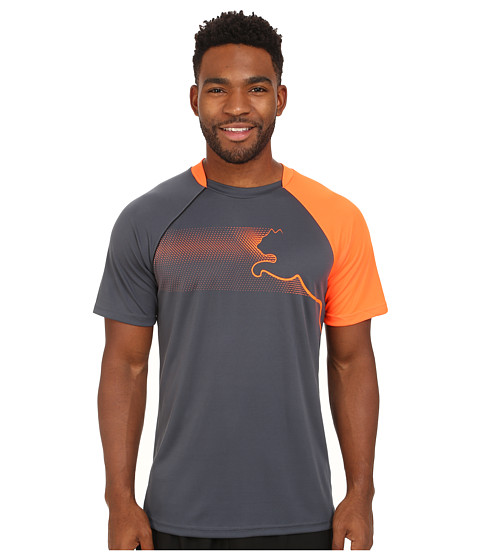 PUMA - Cat Training Tee (Ombre Blue Fluro Evo) Men's Short Sleeve Pullover