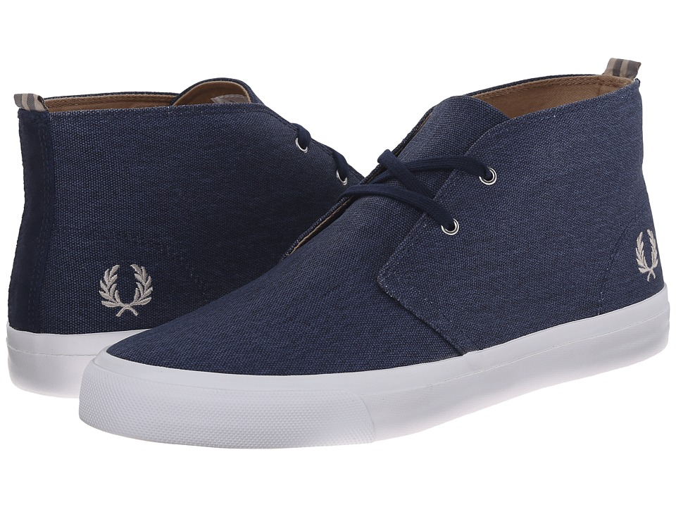 Fred Perry - Veron Mid Waxed Canvas (Carbon Blue/Natural) Men's Shoes
