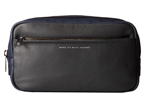 Marc by Marc Jacobs - Classic Leather Color Blocked Dopp Kit (Washed Ink) Toiletries Case