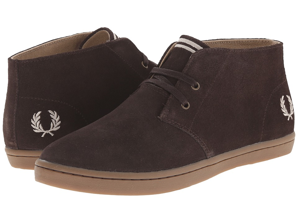 Fred Perry - Byron Mid Suede (Dark Chocolate/Sandstorm) Men's Lace up casual Shoes