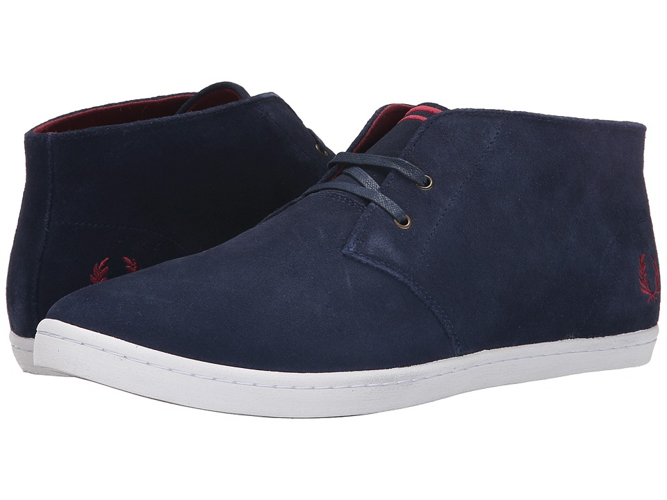 Fred Perry - Byron Mid Suede (Carbon Blue/Maroon) Men's Lace up casual Shoes