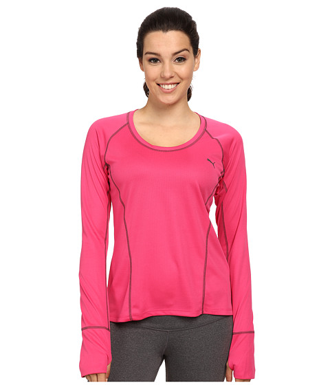 PUMA - Long Sleeve Tech Top (Fuchsia Purple/Dark) Women's Clothing