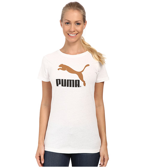 PUMA - Large Logo Tee (White/Cashew) Women's T Shirt