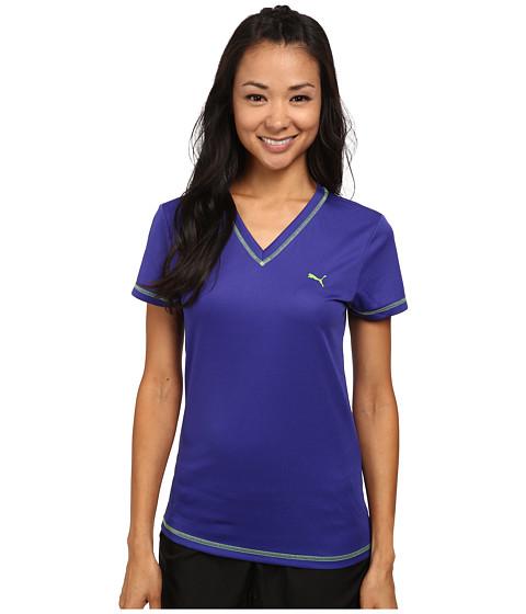 PUMA - V-Neck Poly Tee (Spectrum Blue/Jasmine) Women's Short Sleeve Pullover