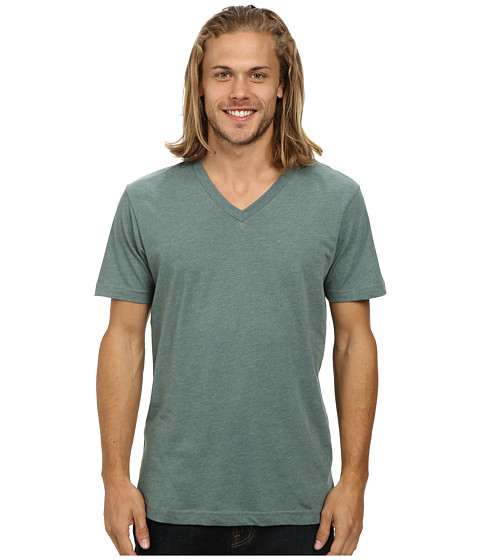 Volcom - Heather V-Neck Tee (Forest Heather) Men's Short Sleeve Pullover