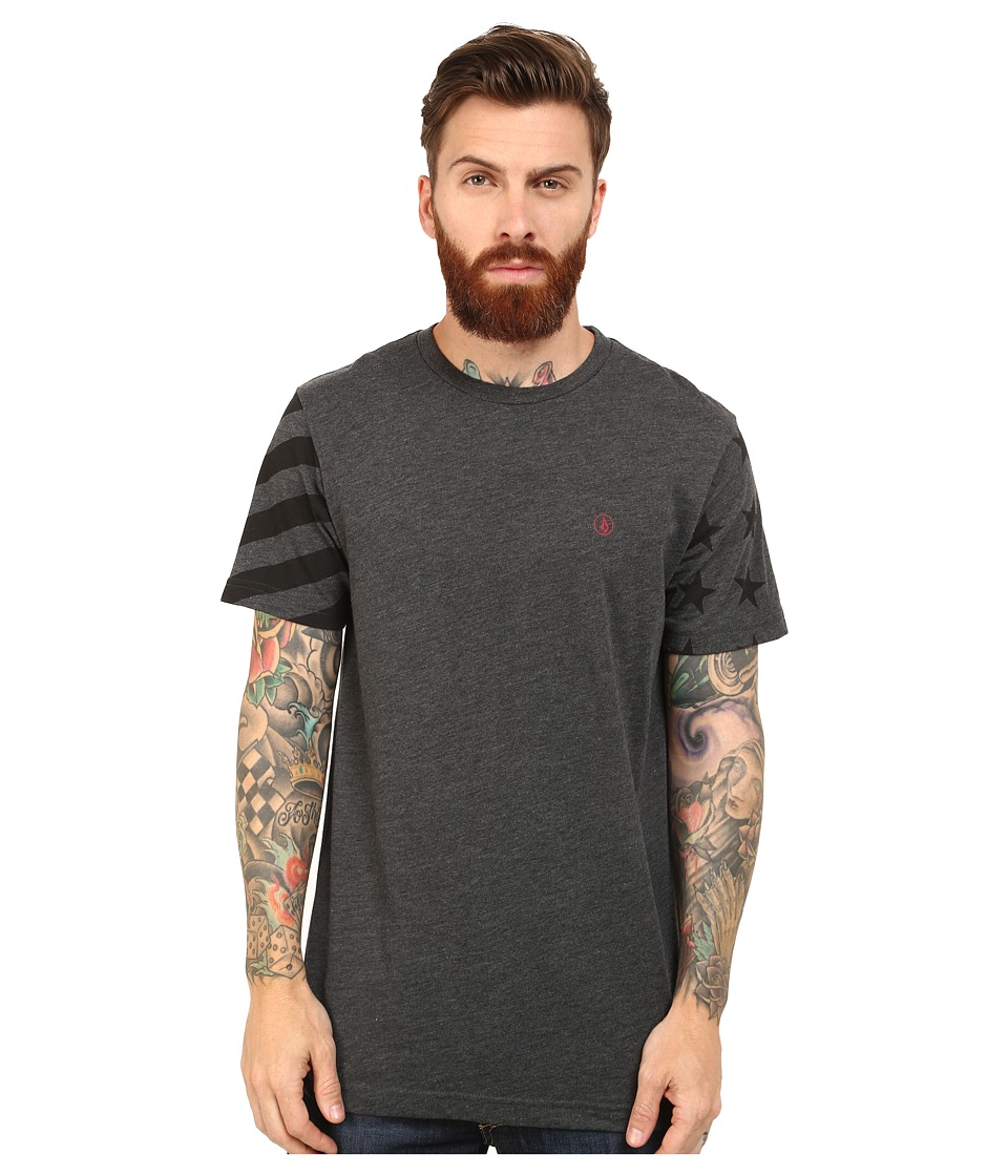 Volcom - Stars and Sleeves Short Sleeve Tee (Heather Black) Men's T Shirt