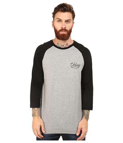 Volcom - Snake Script 3/4 Raglan (Heather Grey) Men's Clothing