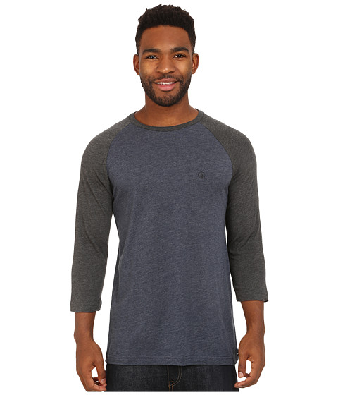 Volcom - Solid Heather 3/4 Raglan (Navy Heather) Men's Clothing