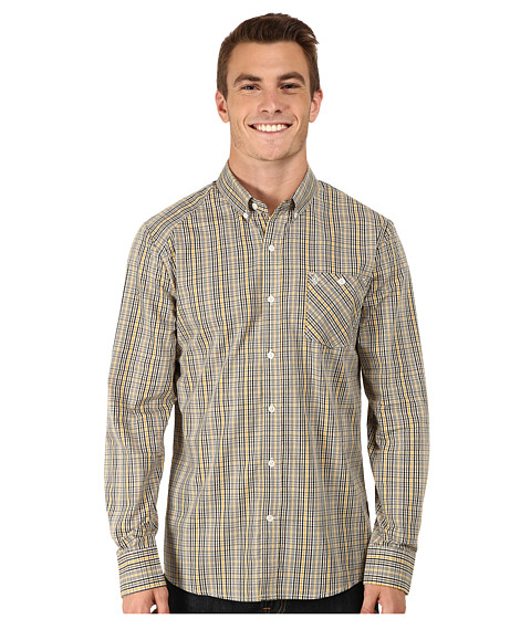 Volcom - Everett Mini Check Long Sleeve Woven (Drill Khaki) Men