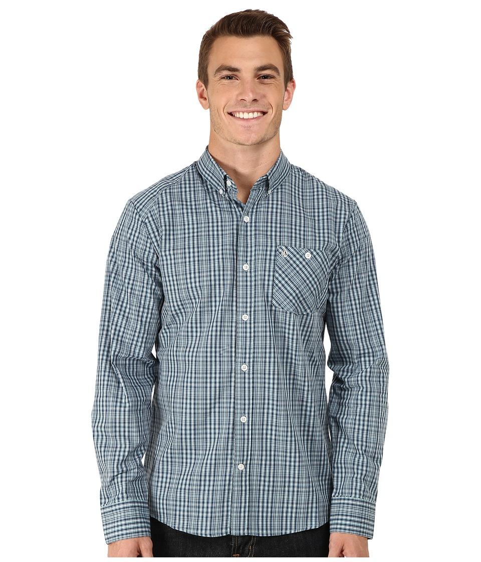 Volcom - Everett Mini Check Long Sleeve Woven (Navy) Men's Long Sleeve Button Up