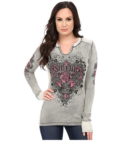 Affliction - Wild Heart Long Sleeve Reversible Thermal Tee (Vintage White/Grey Lightning Wash/Black) Women