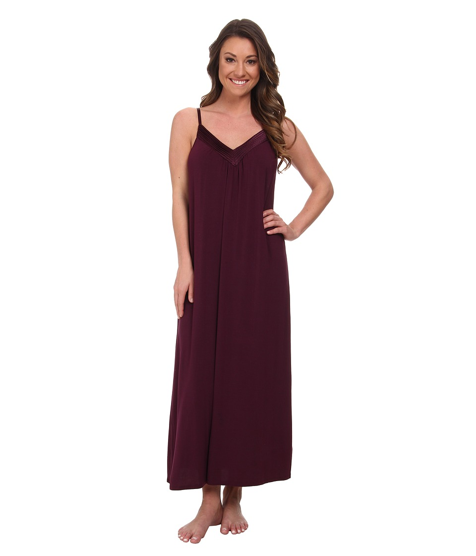 Midnight by Carole Hochman - Looking For Love Maxi with Scallop Stitched Satin Trim (Plum) Women's Pajama