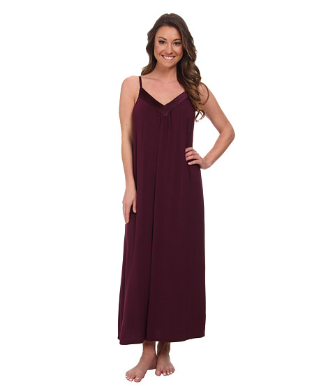 Midnight by Carole Hochman - Looking For Love Maxi with Scallop Stitched Satin Trim (Plum) Women