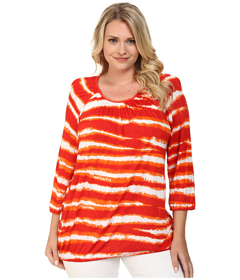 MICHAEL Michael Kors - Plus Size Azure Stripe Long Sleeve Peasant Top (Dark Clementine) Women