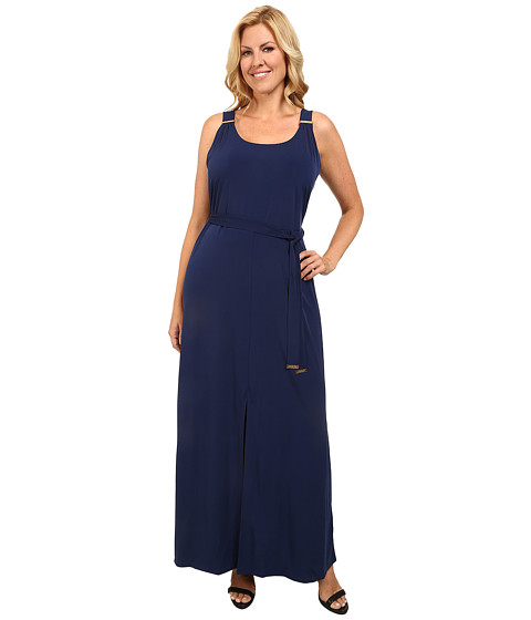 MICHAEL Michael Kors - Plus Size Solid Matte Jersey Logo Maxi (Prussian Blue) Women's Dress