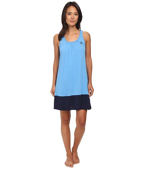 LAUREN by Ralph Lauren - Essentials Tank Gown with Color Blocking (Sea Blue/Capri Navy) Women's Pajama