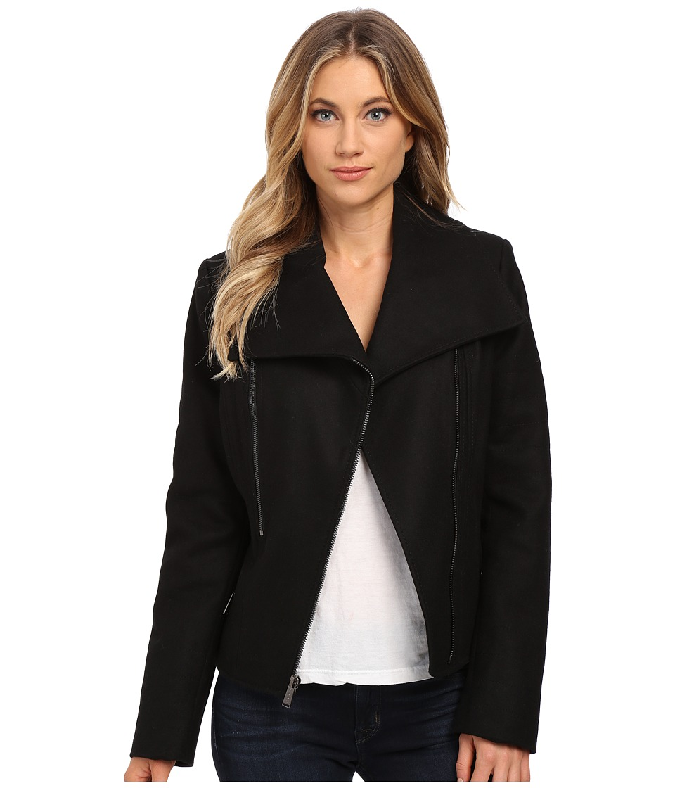 DKNY - Short Asymetrical with Contrast Exposed Zippers (Black) Women's Coat