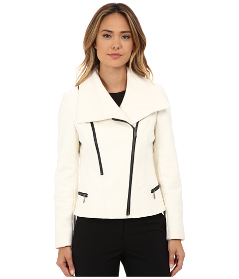 DKNY - Short Asymetrical with Contrast Exposed Zippers (Ivory) Women's Coat