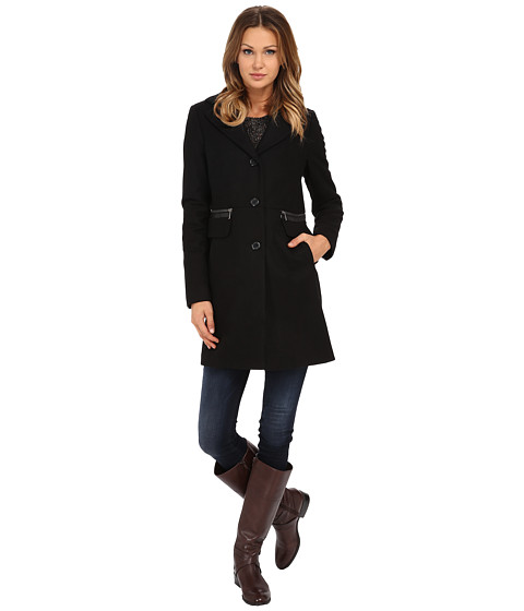 DKNY - Single Breasted Reef with Inset Cuffs (Black) Women's Coat