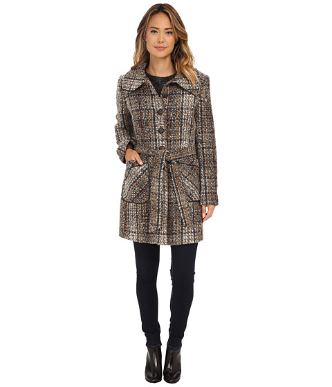 DKNY - Single Breasted Plaid Trench with Envelope Collar (Camel Multi) Women