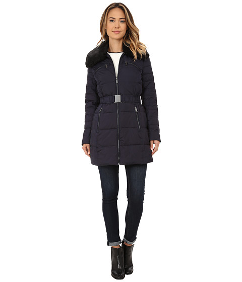 DKNY - Belted Faux Fur Hooded Down Coat (Midnight) Women's Coat