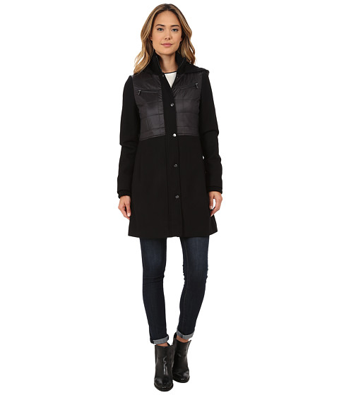 DKNY - Empire Waist with Nylon Combo (Black) Women's Coat