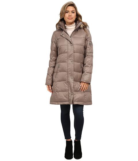 DKNY - 3/4 Snap Front Down w/ Faux Fur (Mushroom) Women's Coat