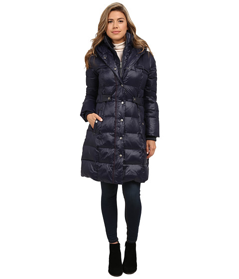 DKNY - Pillow Collar Side Tabs with Hood (New Midnight) Women's Coat