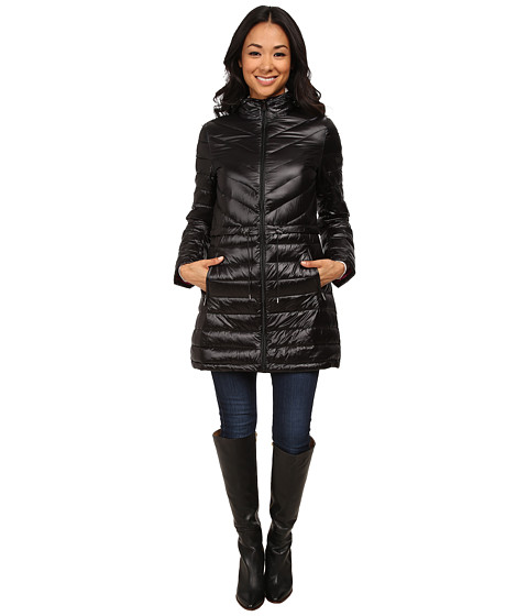 DKNY - 35 Chevron/Horizontal Quilting (Black/Primrose) Women's Coat