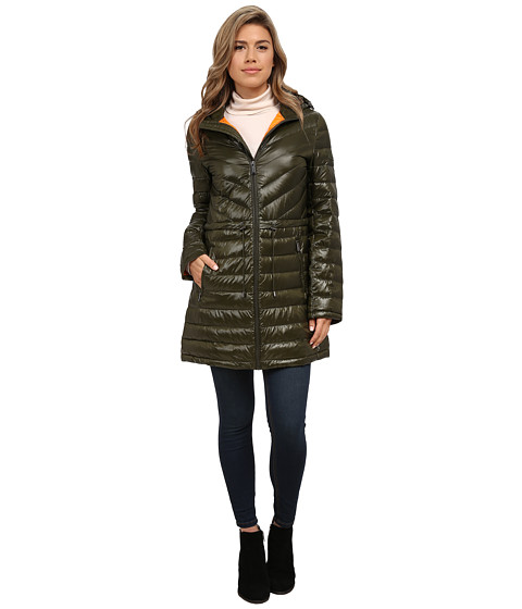 DKNY - 35 Chevron/Horizontal Quilting (Loden/Goldfish) Women's Coat