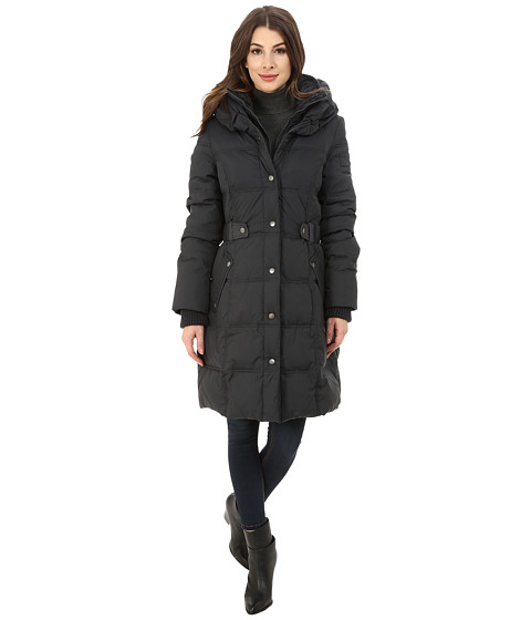 DKNY - Pillow Collar Side Tab Coat (Grey) Women's Coat
