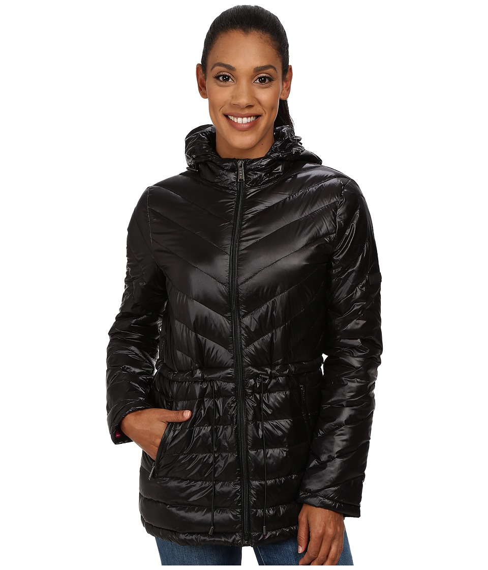 DKNY - 27 Chevron/Horizontal Quilting (Black/Primrose) Women's Coat