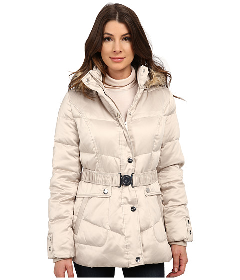 DKNY - Belted Short Fur Hooded Jacket (Beige) Women's Coat
