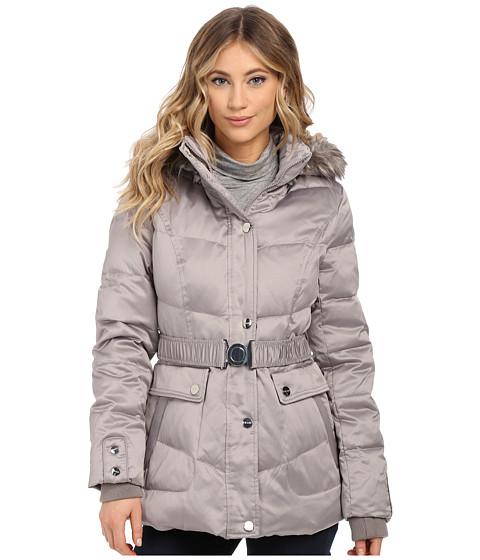 DKNY - Belted Short Fur Hooded Jacket (Platinum) Women's Coat