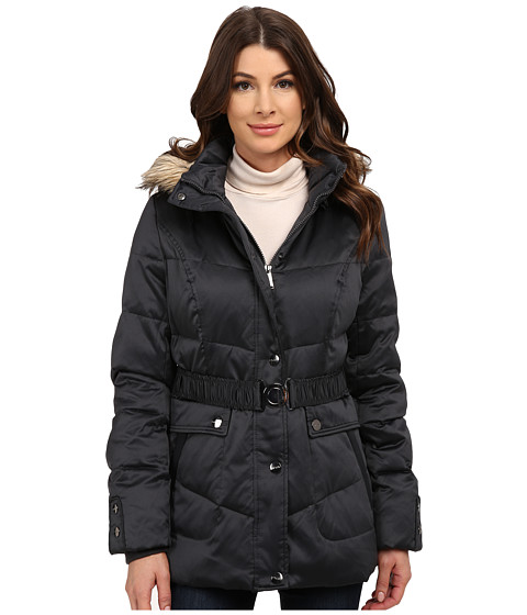 DKNY - Belted Short Fur Hooded Jacket (Grey) Women's Coat